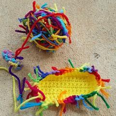 A rainbow inspired scrap yarn crochet cat (crochetbug13) Tags: crochet crocheted crocheting crochetcat crochetcats amigurumicat amigurumicats scrapyarn scrapyarncrochet usewhatyouhave wastenotwantnot