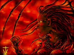 Kerrigans Rage (RedRoofArt) Tags: drawingbox art fanart starcraft fantasy scify red anger mutation kerrigan queenofblades drawing drawingboxapp