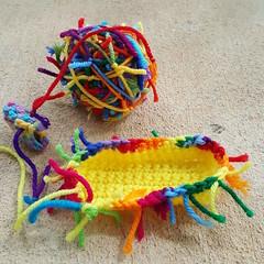 Work begins on the yellow scrap yarn crochet cat (crochetbug13) Tags: crochet crocheted crocheting crochetcat crochetcats amigurumicat amigurumicats scrapyarn scrapyarncrochet usewhatyouhave wastenotwantnot