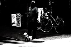 Walking the dog (andersåkerblom) Tags: man shadow dog blackandwhite monochrome