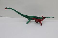Origami Acrocanthosaurus and Sauroposeidon - above view (Tankoda) Tags: roar challenge design june forum origami threopod sauropod cellulose methyl mc white red green paper tissue double attack battle dinosaur art nolan travis sauroposeidon acrocanthosaurus