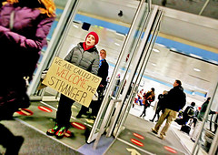We Are Called to Welcome the Stranger (kirstiecat) Tags: charity scandal donaldtrumpcharity christianity wearecalledupontowelcomethestranger religiousleft religion spirituality muslimban airportprotest chicago illinois america stranger biblical protest ohareairport sign people thisiswhatdemocracylookslike travelban nobannowall hatehasnohomehere immigrants refugees resist resistfascism trumpcare obamacare healthcare humanrights street canon