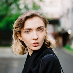 Olga. (vladimir_romansky) Tags: film medium format kodak girl portrait push bokeh people indoor outdoor depth field hasselblad 500cm 6x6 porta160