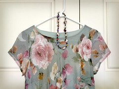 Put out clothes for the morning. (JoanDragonfly) Tags: dress necklace clothes hanger hanging accessorize accessory