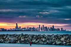 The City Beyond the Rocks (Flipped Out) Tags: whitingin whihalabeach lakemichigan northwestindiana chicago