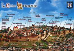 postcard - Carcassonne 2 (Jassy-50) Tags: postcard carcassonne france unescoworldheritagesite unescoworldheritage unesco worldheritagesite worldheritage whs aerial map mapcard