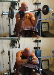 Tired Weight Trainer (licornenoir) Tags: weight trainer man ez bar precher curl home gym sit sitting seated people