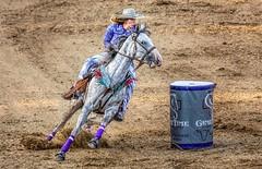 Making The Turn (Wes Iversen) Tags: davisburg michigan nikkor18300mm oaklandcountyfair animals barrelracing barrels dirt horses mammals people rodeos sports women womensbarrelracing