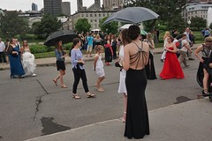 Meet here for an evening to remember (beyondhue) Tags: prom girl student montreal old port rain umbrella quebec summer beyondhue street people