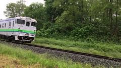 Fast Train in Yubari (sjrankin) Tags: 25june2017 edited yubari hokkaido japan video train yubariline yubarisen railroad crossing 2726mb large