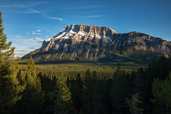 Mount Rundle in Evening Light (B.E.K.) Tags: mount rundle mountain banff alberta canada evening light evergreen trees wispy clouds outdoor landscape
