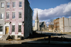 (patrickjoust) Tags: 6x9 medium format 120 rangefinder 90mm f35 fujinon lens chrome slide e6 color reversal expired discontinued film manual focus analog mechanical patrick joust patrickjoust baltimore maryland md usa us united states north america estados unidos urban street city row house home window church spire tower clouds cross