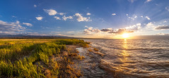 Where water meets land (A. Stavrovich) Tags: kyrgyzstan 2017 lakes water sunset sunrays sunshine sun clouds sky grass landscape scenery summer canon canon5dmarkii canonef1740mmf4l panorama panoramic hdr issykkul beautiful vacation green red yellow blue waves wind