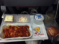 Alps Trip 0015d (mary2678) Tags: air berlin overseas flight airline airplane dinner food pasta brie bread roll carrot cake coleslaw water meal plane