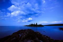 "MI17-0967-3743 ""Blue Hour at Hunters Point"" by Aubrieta V. Hope, www.Michigan Scenery (Aubrieta V. Hope) Tags: lakesuperior keweenawpeninsula copperharbor hunterspointpark michiganscenery bluehour rockyshoreline stillwater up michigansupperpeninsula uppermichigan"