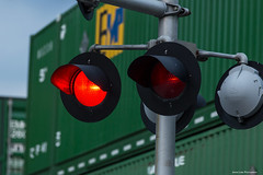 Grade Crossing (Jason Lowe Photography) Tags: train trains tracks transportation railroad railfan railway crossing gradecrossing lights flashing containers intermodal ns norfolksouthern freight red signal stop warning emp