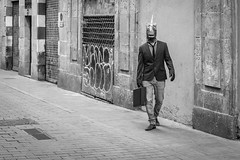 The Streets, Barcelona (Geraint Rowland Photography) Tags: candid raval ravalistan barcelona catalonia barcelonastreetphotogrpahytours alternativertoursofbarcelona earlymorningweirdnessonthestreetsofbarcelona catalan horse horseshead fancydress weird strange peoplearestrange streetportrait blackandwhiteimagery geraintrowlandphotography geraintrowlandstreetphotographyinbarcelona walk wwwgeraintrowlandcouk