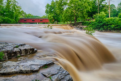 How Close is Too Close? (tquist24) Tags: cataractfalls hdr indiana millcreek nikon nikond5300 outdoor uppercataractfalls bridge coveredbridge geotagged green limestone longexposure morning nature red river rocks sky tree trees water waterfall spencer unitedstates