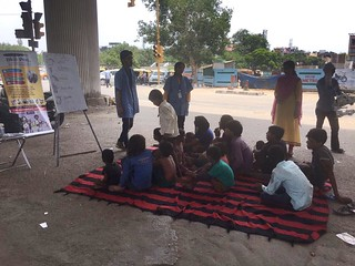 Team Blue Pen teaching Flyover/Slum kids at Nehru Place Flyover on 9.7.17(1230-130PM₹