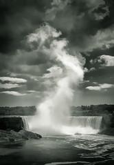 Niagara Mist - Textured Duotone (byron bauer) Tags: byronbauer water falls niagara river mist cascade ship boat clouds sky painterly texture cataract outdoor landscape monochrome blackwhite ontario