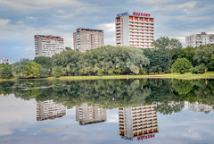 Reflection (svklimkin) Tags: pond moscow building reflection three park nature summer
