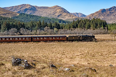 The Jacobite nearing Glenfinnan (Mister Oy ***WOW! 5 Million Views!***) Tags: glenfinnan jacobite steam steamtrain railway loco train lancashirefusilier black5 45407 scotland mountains fujixpro2 visitscotland lochaber landscape heritage vintage