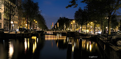 amsterdam. (alamsterdam) Tags: canal amsterdam longexposure bridge reflection cars bikes sky keizersgracht