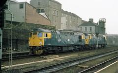 26037 & 26015 pass Haymarket, September 1982 (colin9007) Tags: brcw sulzer class 26 type 2 26015 26037 d5315 d5337 haymarket edinburgh