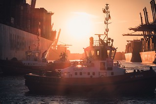 Tugboats in the sunset...