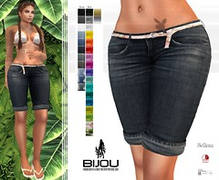 .Bijou ~ Bisou Bermuda (BijankRau | [ photograp'r model.]) Tags: maitreya slink belleza mesh bodies sl secondlife virtual fashion bijou couture lowpriced high quality bermuda jeans shorts belt texturing hud colors army roses ibiza mixmatch flipflops slippers summer beach dutch netherlands breads brunette
