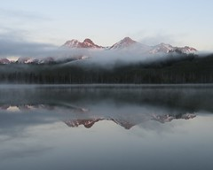 Foggy Mountain Morning (Explored) (claypeoples) Tags: mountain mountains reflection pond lake redfishlake sawtooth sawtoothmountains sawtoothrange idaho usa landscape scenery fog alpenglow sunrise morning calm peaceful eerie