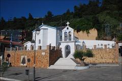 Iglesia (Katakolon, Grecia, 13-6-2017) (Juanje Orío) Tags: katakolon grecia 2017 iglesia church cruz bandera campanario flag europeanunion europa europe