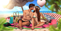 The Summer kiss (meriluu17) Tags: lode astralia summer couple kiss kissing fresh hot warm beach heart blanket watermeloon palm love people portrait sitting
