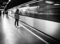 Metro (Henka69) Tags: subway metro tunnelbana movement motion monochrome streetphoto street milano publictransportation