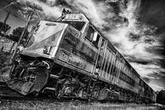 Grand canyon express 1 (photoautomotive) Tags: grandcanyon arizona usa american america ironhorse railway railroad old train track sky clouds grandcanyondepot williamstograndcanyondepot outside outdoor tavel trip blackandwhite bw hdr canon10d
