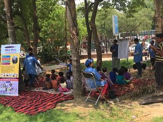 Team Blue Pen with Kids of Hazrat Nizamuddin Tomb Slum area, on 25.6.2017 (11-12PM)