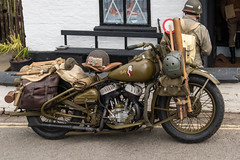 War time Harley Davidson motorbike. (Bob Green 52) Tags: svr severnvalleyrailway svrwarweekend2017 severnvalley railway train steam smoke war engine loco rails worcestershire 40sweekend reenactment