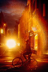 Cambridge nights - 1. Cyclists beware of blinding glare (ḆΞ₪¡) Tags: flare lens soviet 442 helios 2016 cyclist cycle night cambridge 5d canon canon5d
