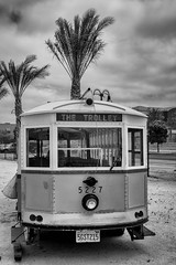 The Trolley (Photos By Clark) Tags: 170400mm california canon1740 canon60d cities locale location northamerica pc201105 photoclubmonthlyoutings places sandiego unitedstates where nationalcity restored custom trolley vw bus herbie 5227 lightroom nik silverefx