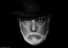A man of wealth and taste. (Neil. Moralee) Tags: neilmoralee tophatneilmoralee2017 self selfie neil moralee hat dark black white bw bandw blackandwhite face close beard devil rolling stones sympathy eye eyes moustache man mature old portrait stare magic wicked evil rollingstones jagger nikon d7200 monochrome contrast shadow selfy