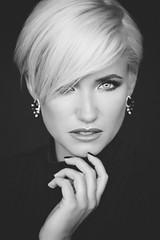 Janina K. #10 (Georg F. Klein) Tags: janinak model portrait glamour beauty portraiture blond bw blackandwhite fuji xt2 56mm apd f12 natural light ambient illumination