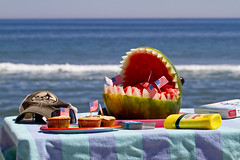 Welcome Summer! (brucetopher) Tags: flickrfriday summervacations summer vacation vacations water ocean sea shark sculpture table waterfront fruit view beach colorful fun relax coast seacoast coastal fourthofjuly 4thofjuly blue mouth teeth