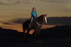 Nicky Dole on Red Carpet Rogue (Mitch Tillison Photography) Tags: equine horse caballero cowgirl cowboy barrelracer nickydole reddcarpetrogue whitesands sunset nationalmonument godox strobe nikon d810 mitchtillison photo photography southwest newmexico west western portrait