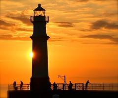 The Lighthouse (Edinburgh Photography) Tags: landscape seascape people sunset newhaven harbour nikon d7000