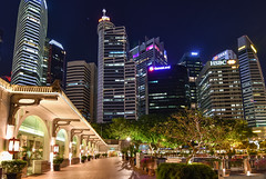 Singapore City at Night (Merrillie) Tags: lights night highrises highrise asia travel buildings tourist architecture city cityscape nightscape skyline singapore nighttime