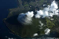 Kaimondake Volcano, Japan (Jaws300) Tags: kagoshima bay kagoshimabay kaimondake volcano kaimondakevolcano flying scenery flyingscenery from above airborne aloft fromabove flyby kyushu 九州 mountain mountains green greenery cloud clouds cloudcover cover airbus a300