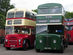 St Helens Corporation 55 Leyland Titan PD2/47 (East Lancs bodied) MDJ555E & Liverpool Corporation A36 AEC Regent III (Crossley bodied) NKD536 - NWVRT Running Day 2017 (FF3170) Tags: liverpool merseyside kirkby nwvrt