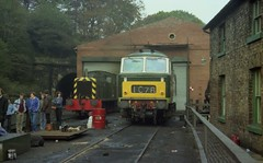 Drewry Class 04 shunter D2207 and Hymek D7029 at Grosmont shed, NYMR, October 1982 (colin9007) Tags: grosmont nymr north yorkshire moors railway dtg hymek diesel hydraulic beyer peacock maybach br class 35 bb d7029 drewry shunter 04 d2207