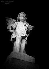 Cemetery Angel (AlanaLouiseBowmanPhotography) Tags: cemetery angel alanalouisebowmanphotography photography black white headstone tombstone gravestone sculpture carving stone bent hamilton lanarkshire scotland