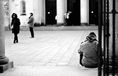 """""""I don't know. I got nothing. No house, no people, no place. Maybe that's troubles. Don't I say?"""" (anetxu25) Tags: black white homeless street poznan poland polska europe nikon flickr comment comments follow followme photo pic picture"""